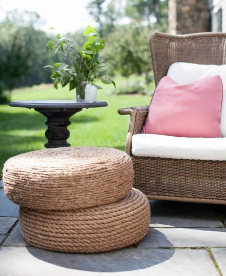 Rope ottoman made from old tire - patio diy ideas