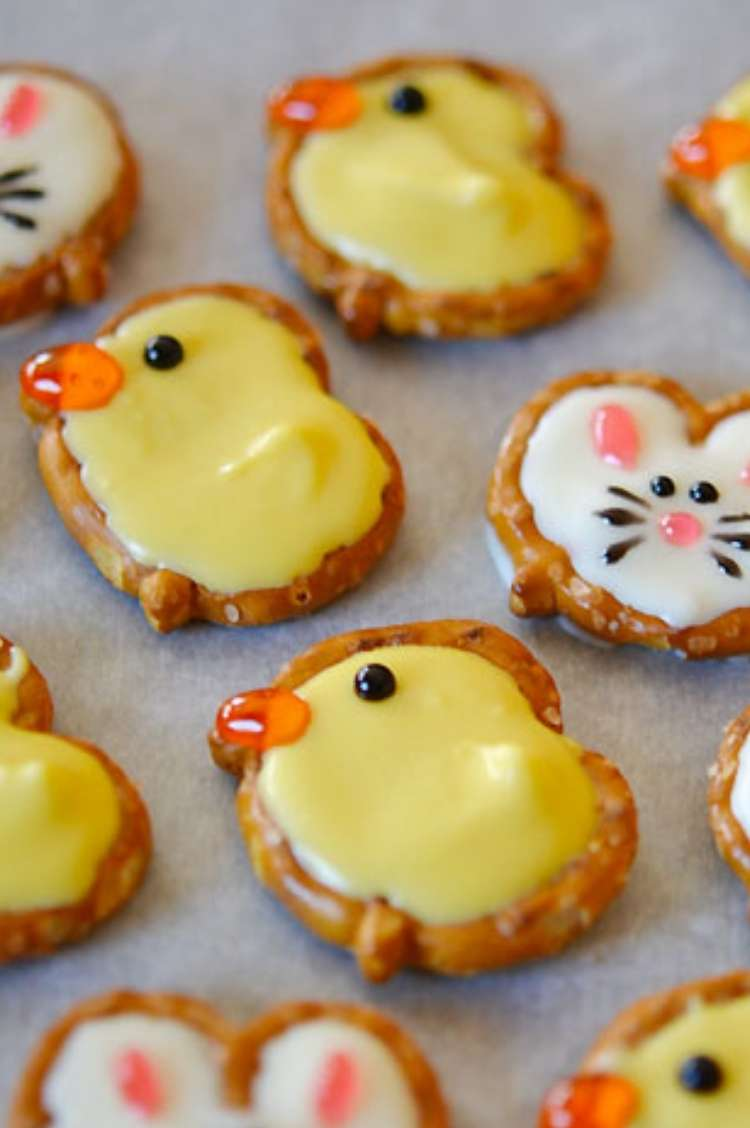 round pretzels with yellow or white icing to create easter chicks or bunnies