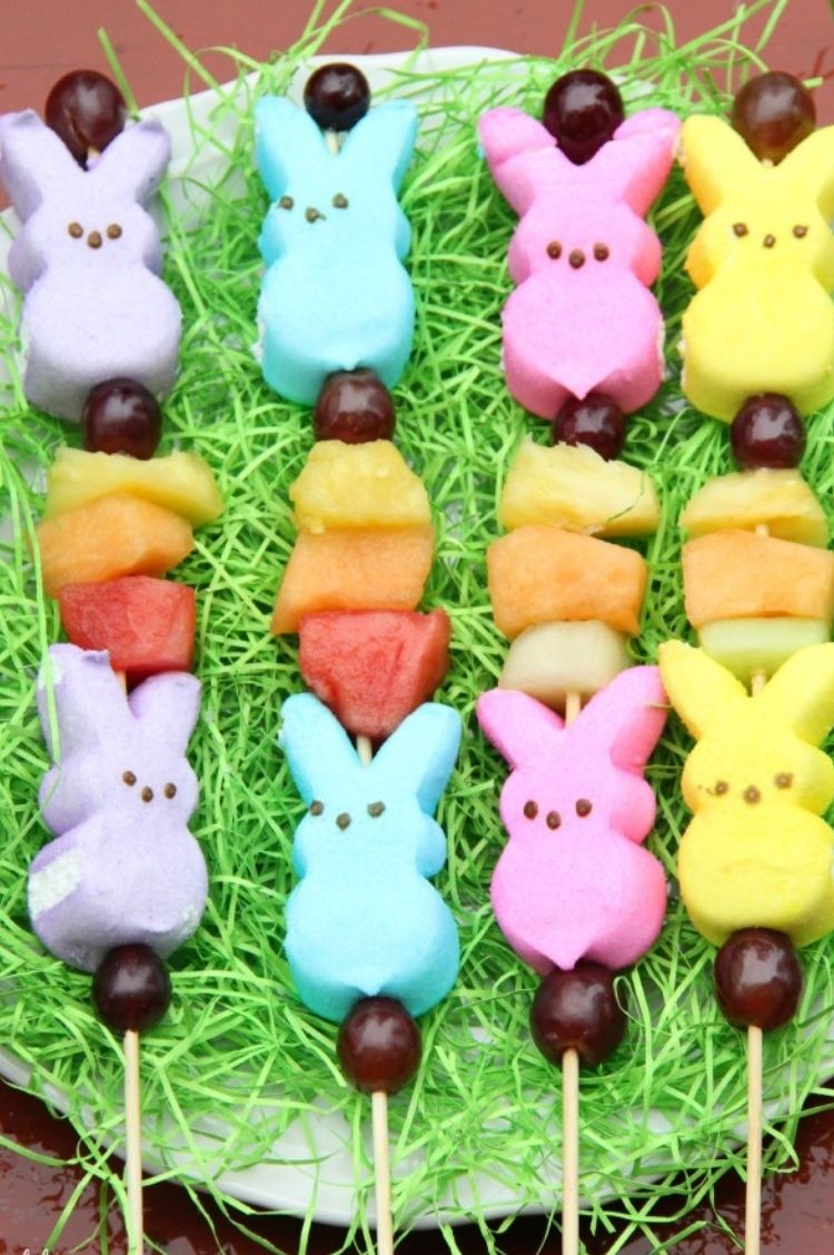 Easter Peep Bunnies combined on a skew rod with pieces of fruit to make kabobs