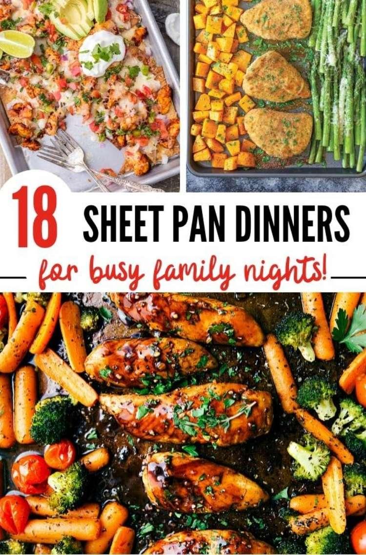Pinterst Pin: Easy sheet pan dinners, one pan chicken dinners, sheet pan nachos, and chicken and butternut squash sheet pan dinner