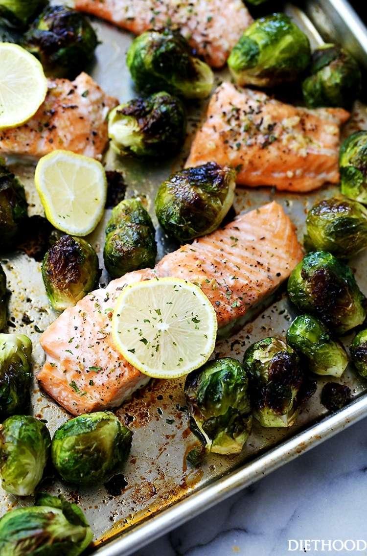 Salmon Sheet pan Dinner: Garlic, salmon, lemon, and Brussel Sprouts