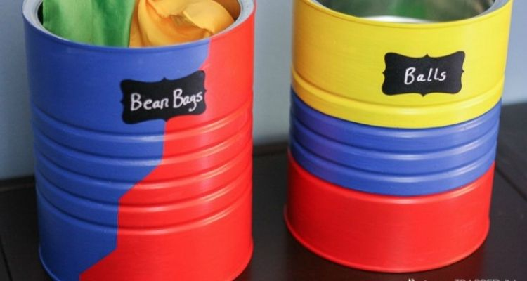 Coffee tin cans for bean bags or balls