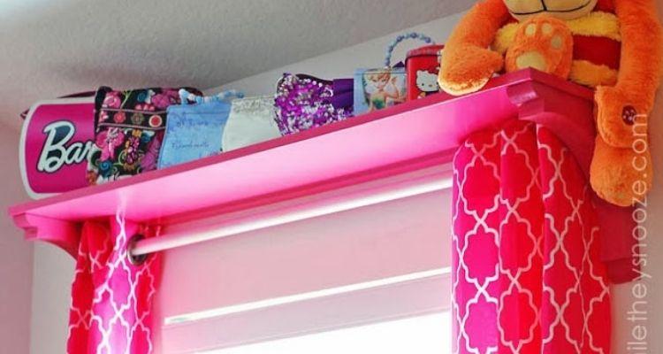Window shelf for kids room organization