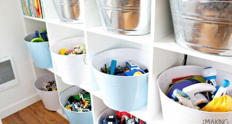 pails in cubbies for kids room organization ideas