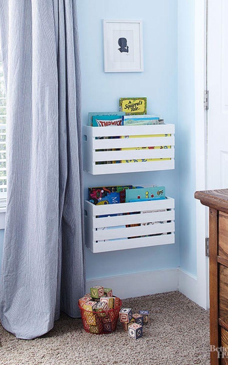 DIY crate bookshelves for kids room organization
