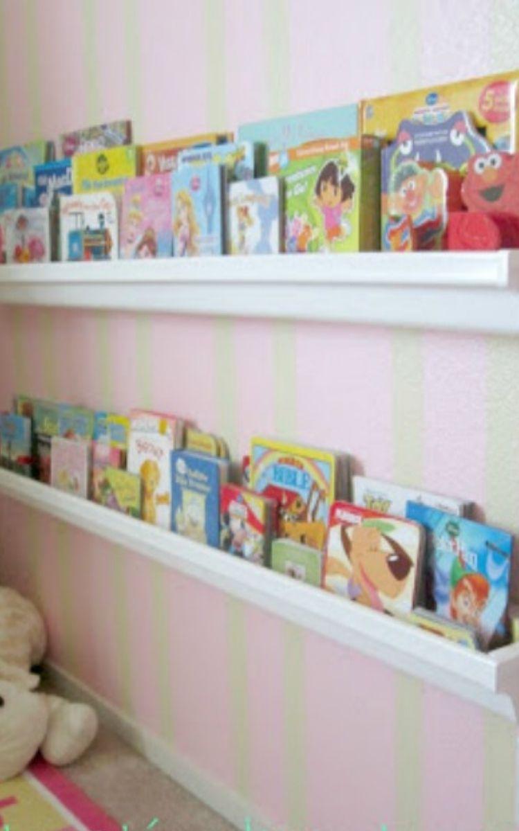 Organize kids books with rain gutter book shelves