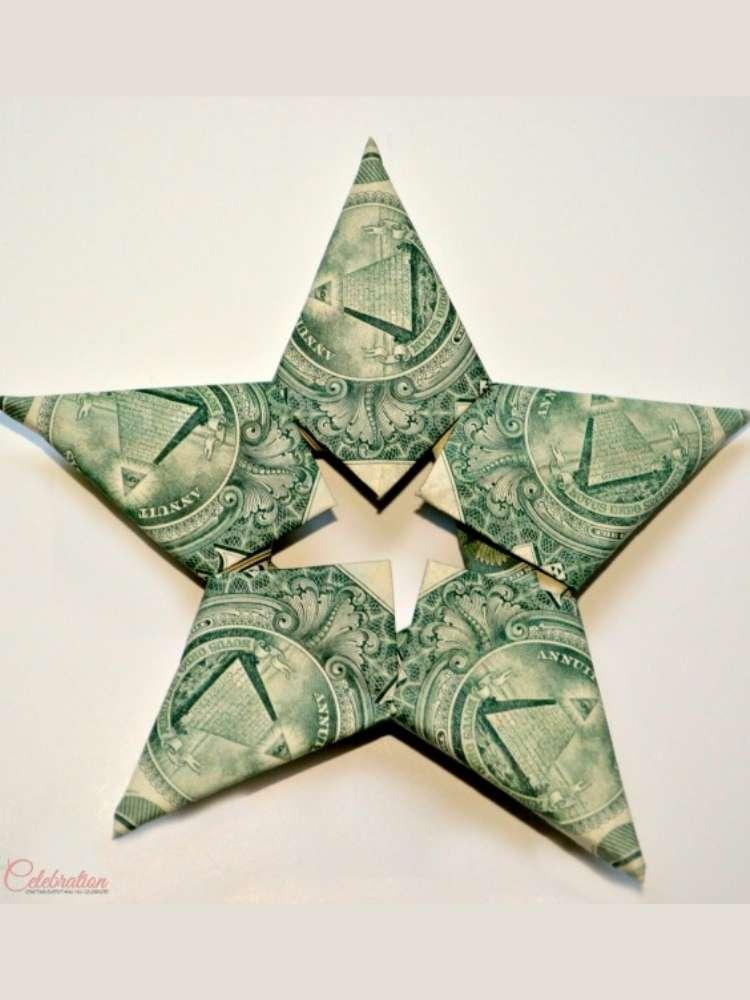 Interlocking Money Star gift idea- money in the shape of a star