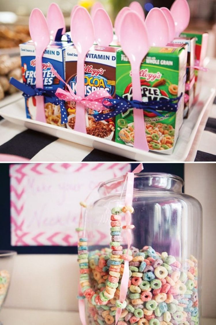 collage of mini cereal boxes decorated with ribbon and spoons to make slumber party breakfast easy, cereal necklaces made from cereal