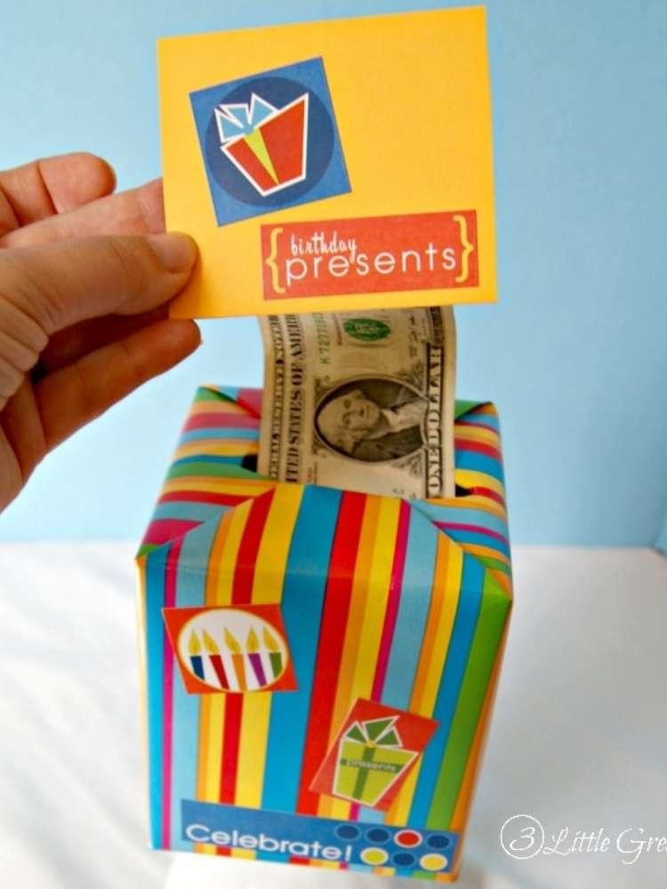 Fun money gift ideas- money in decorated tissue box