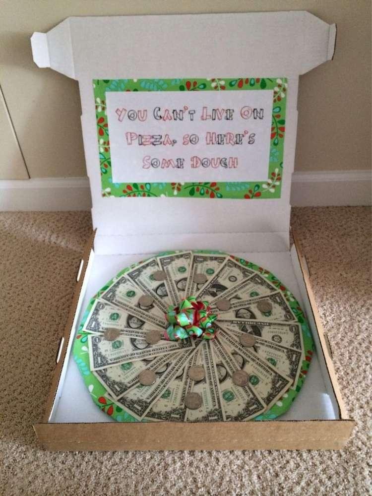 Creative money gift ideas- money in a pizza box