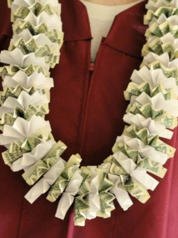 Fun and creative money gift ideas- money made into a lei for a tropical theme gift