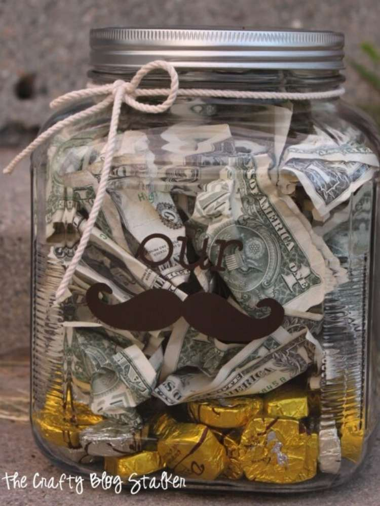 Money Stash Jar gift idea- Money in a jar for wedding or graduation gift