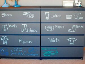 Baby clothes dresser with chalk labels