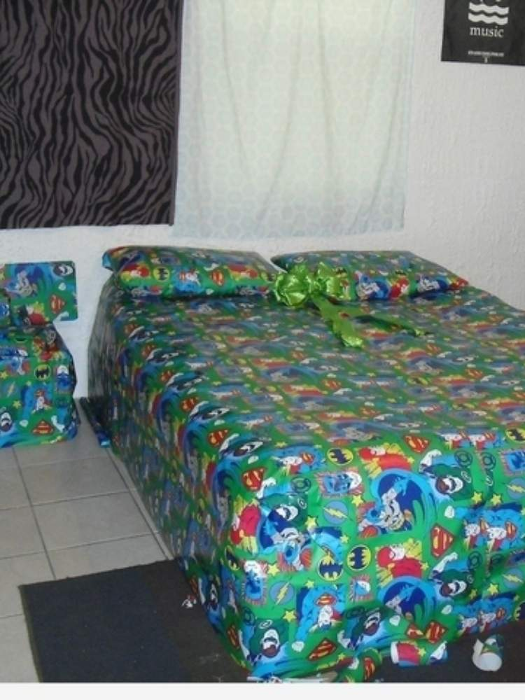 Fun Birthday Prank Ideas- Picture of furniture wrapped in wrapping paper