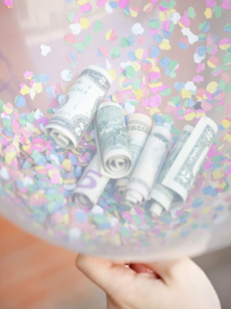 Fun Birthday Prank ideas- picture of balloon filled with money and glitter