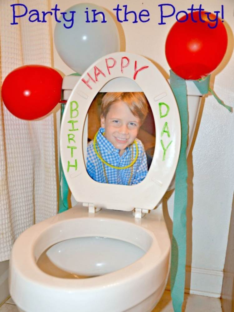 Fun Birthday Prank Ideas- picture of toilet with balloons and Happy Birthday written on it