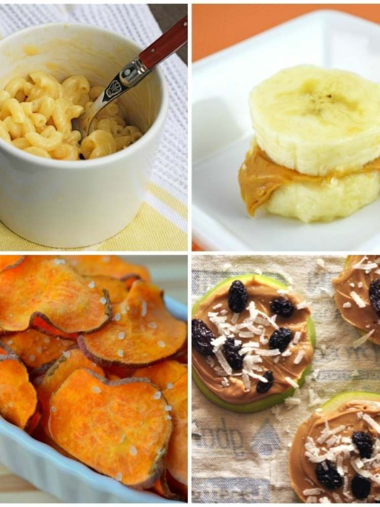 Snack Ideas for Lazy Parents- collage image of snack ideas for kids, banana bites, sweet potato chps, homemade mac and cheese, apple cookies