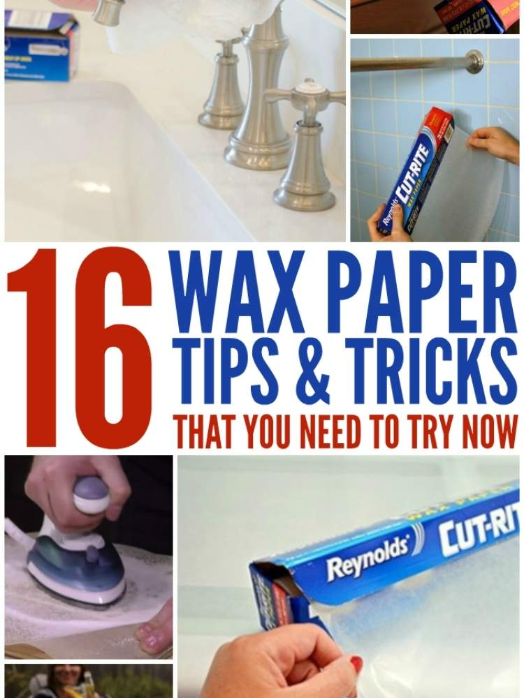 Wax Paper tips & Tricks- Collage of different hacks to use wax paper