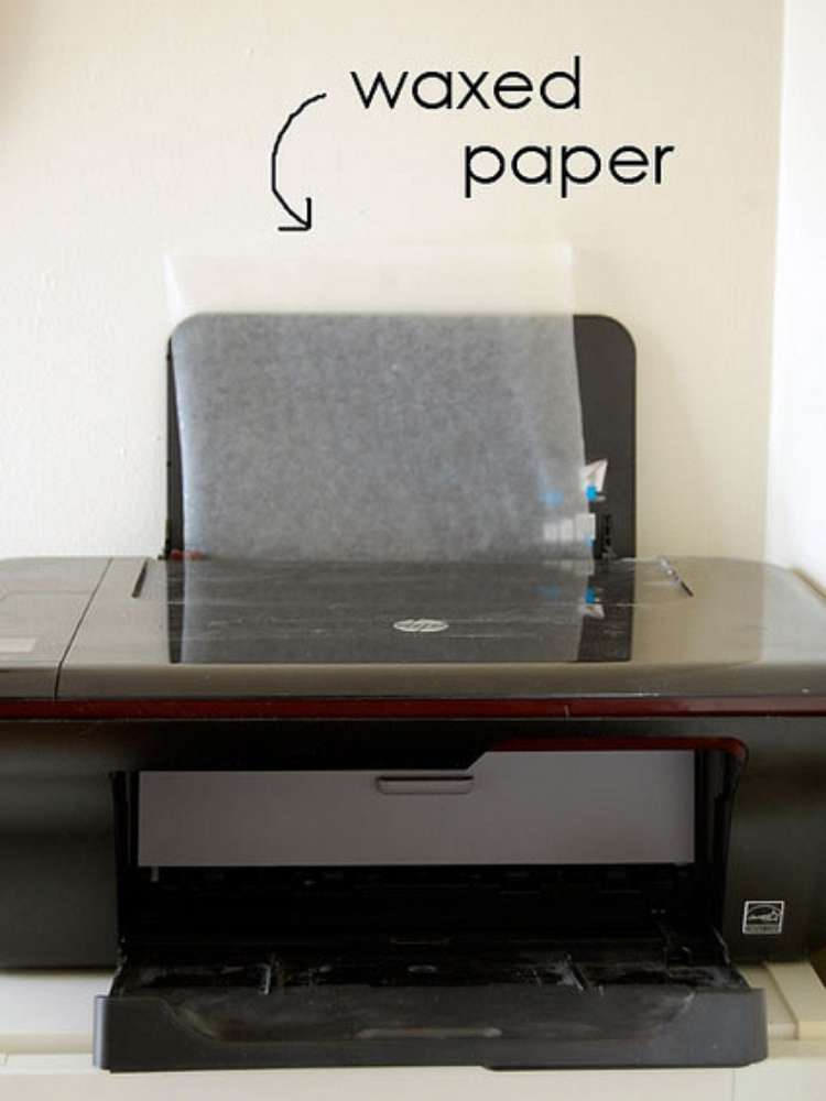 Picture of wax paper in printer to make decorative wood transfer images