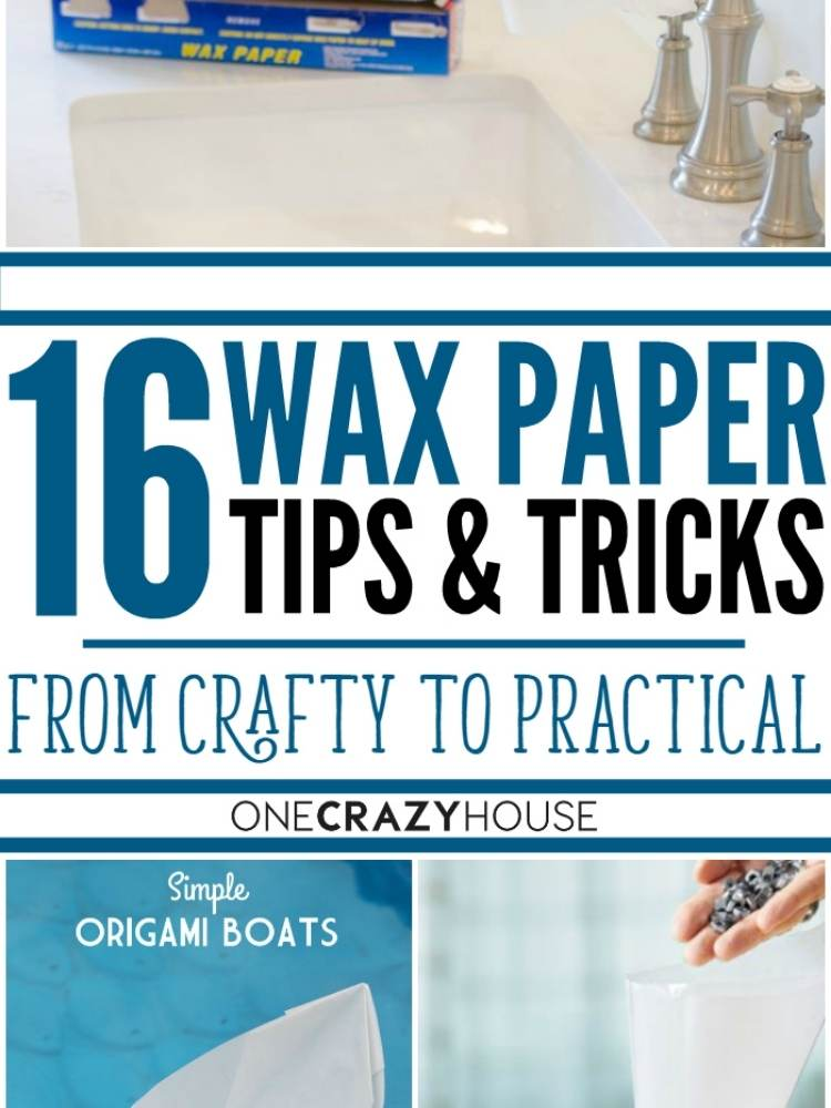 Collage of Wax paper tips and tricks, wax paper origami, wax paper funnel