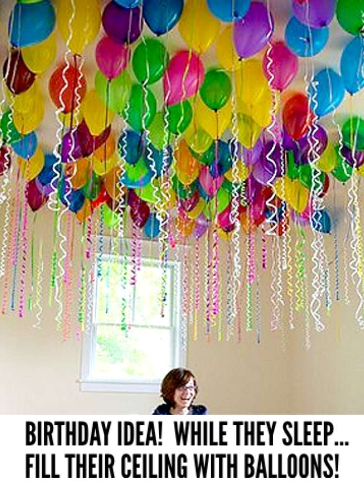 Fun Birthday Surprises- Picture of room filled with balloons for a birthday surprise