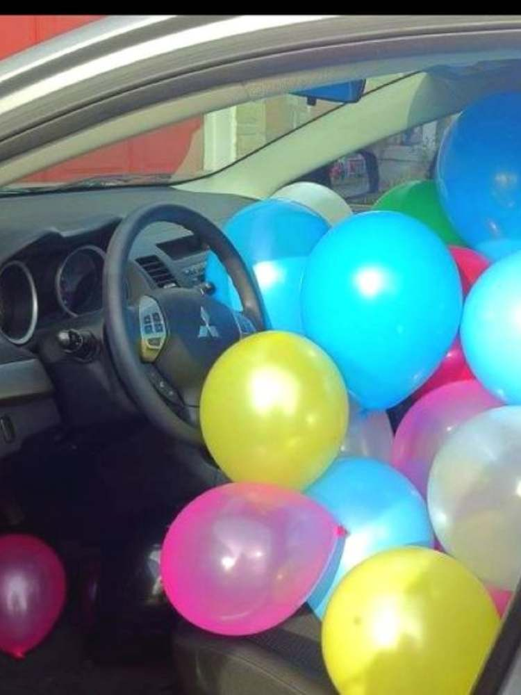 Birthday Prank Ideas- Picture of car full of balloons
