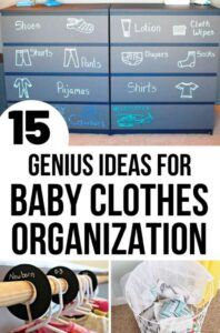 baby dresser storage solution with chalk written labels