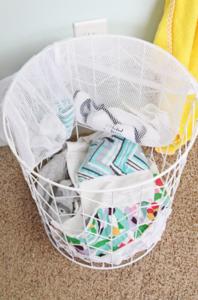Mesh laundry bag baby clothes storage idea