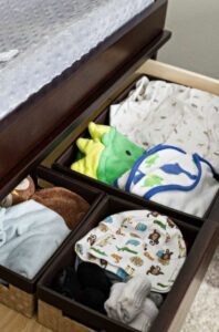 Baby dresser with basket containers for organization