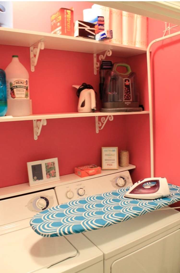 Above washer ironing board