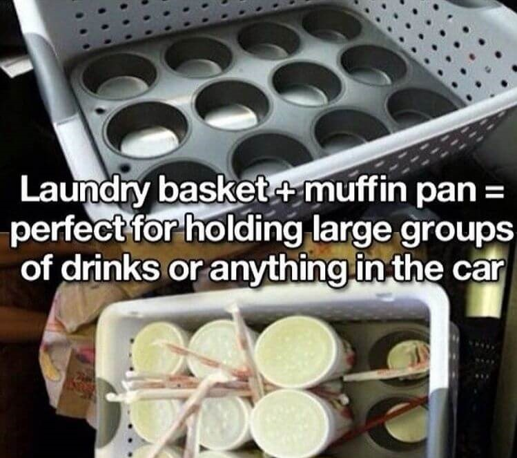 Car cleaning hack - a basket with a muffin tin in the bottom that is used as a drink carrier