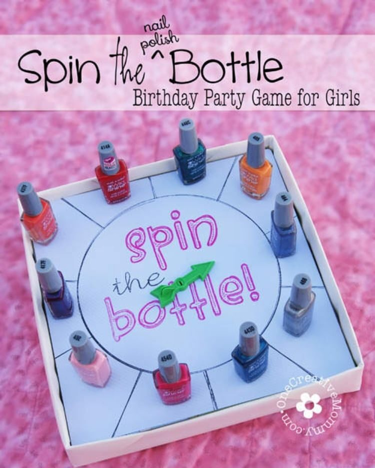 another great sleepover party idea is playing a spin the bottle game using different nail polish colors