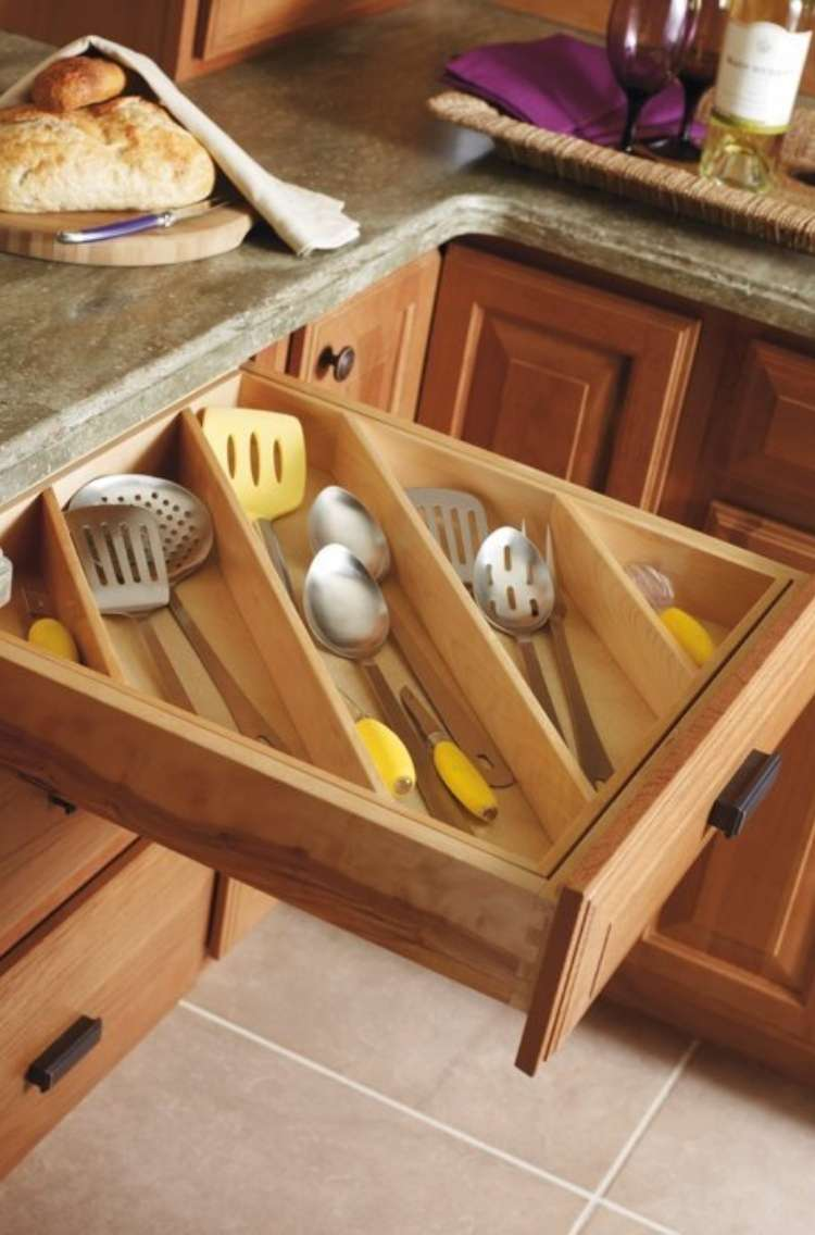 OneCrazyHouse How to Organize Kitchen Open kitchen drawer with utensil dividers insterted diagonally holding longer cooking utensils.