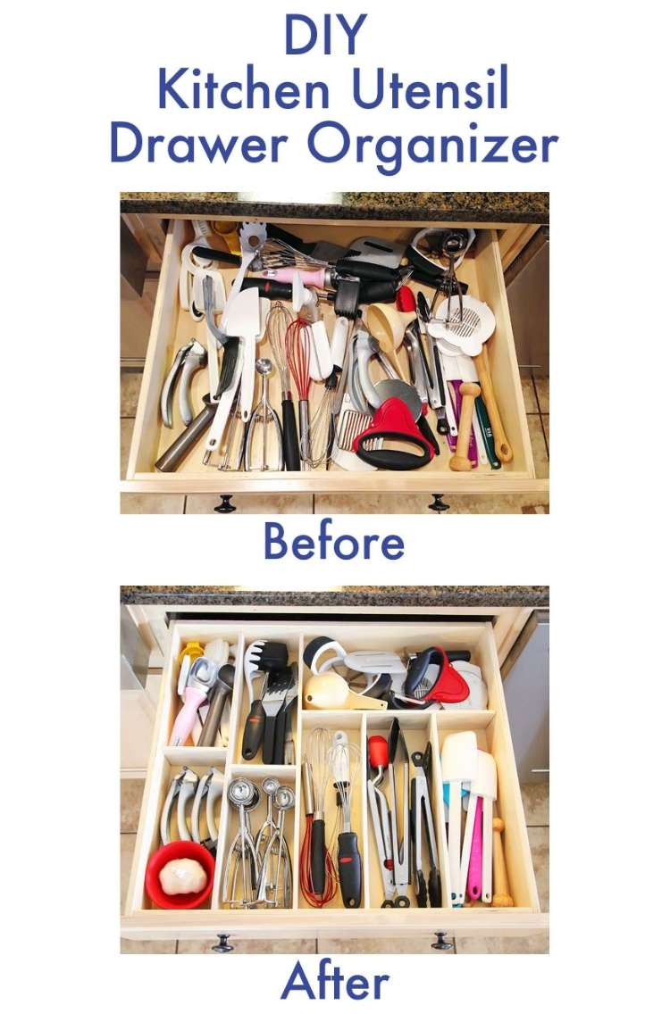 One Crazy House how to Organize Kitchen Collage picture with 2 pictures, before and after. Before is messy drawer, the adter picture is drawer with dividers neatly arranged