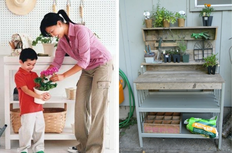 Woman and child planting flowers and a rustic grey and wood rustic potting bench