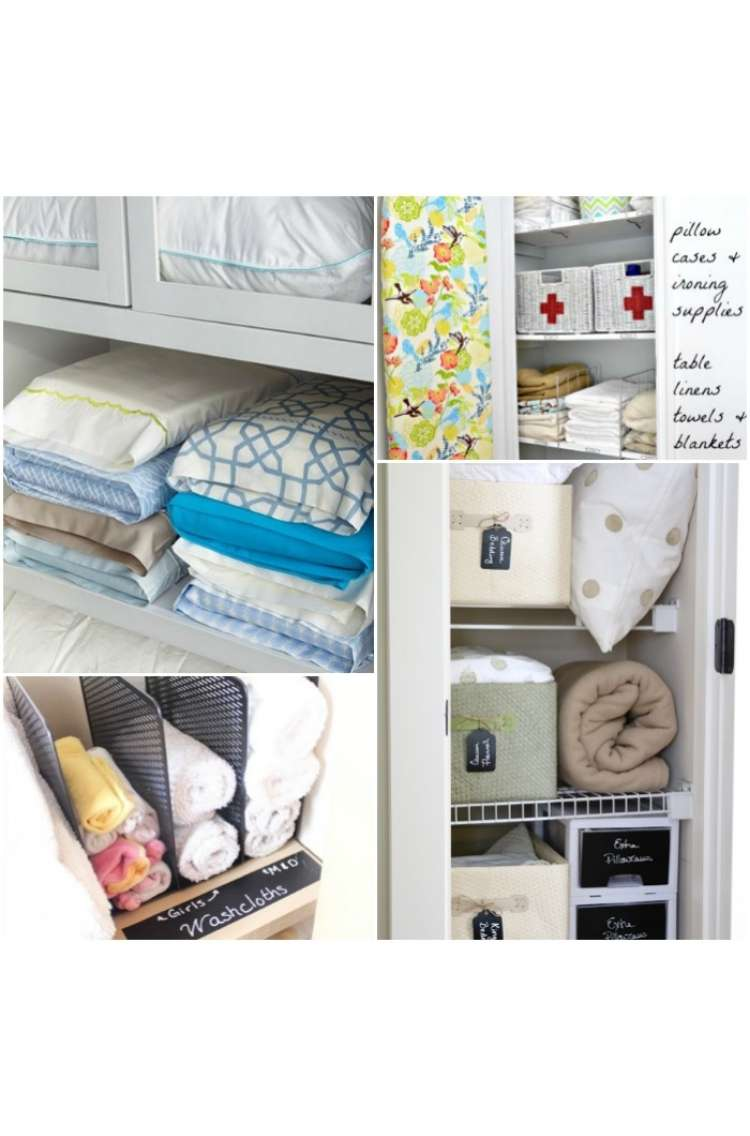 Onecrazyhouse Linen Closet Organization Picture collage. Bedsheets folded into pillowcases on sheld, washtowels stacked in magazine holders on shelf, open linen closet with neat baskets and ironing board hanging from the door, neat drawers with pillows and blankets stacked beside on each shelf.
