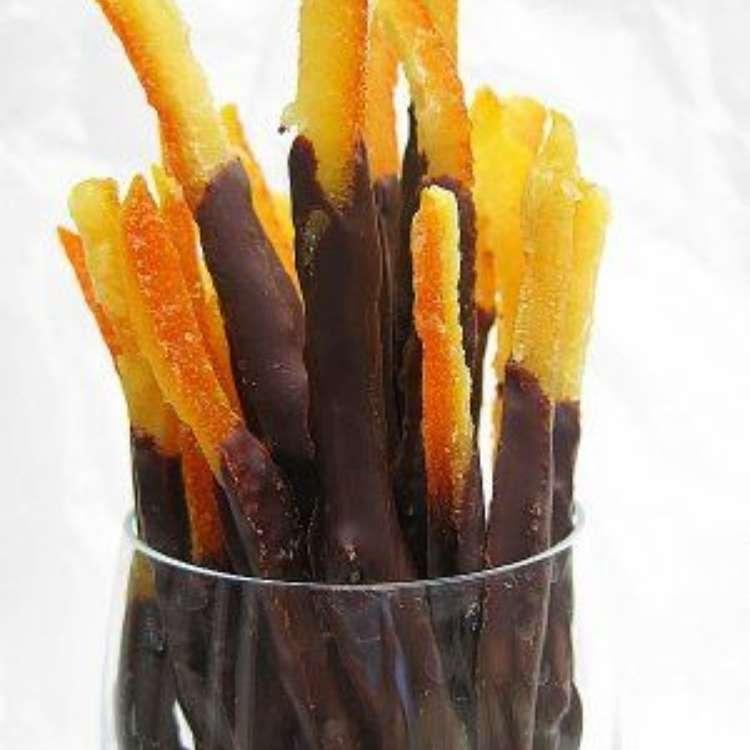 orange peel uses - candied orange peels coated in chocolate