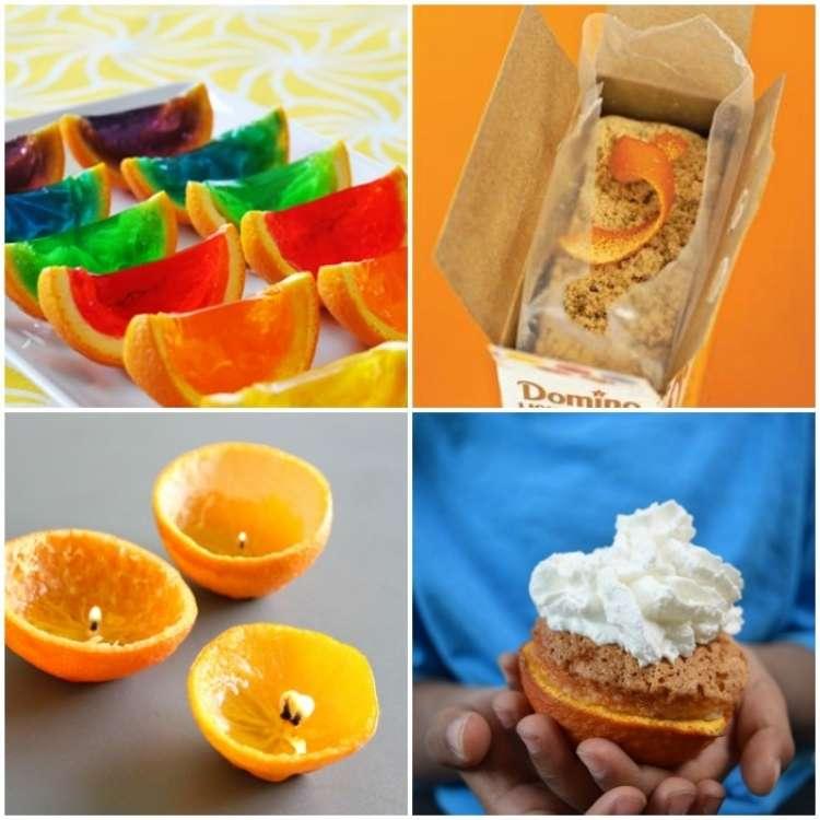 orange peel uses - photo collage of jello, brown sugar, DIY candles, and cupcake