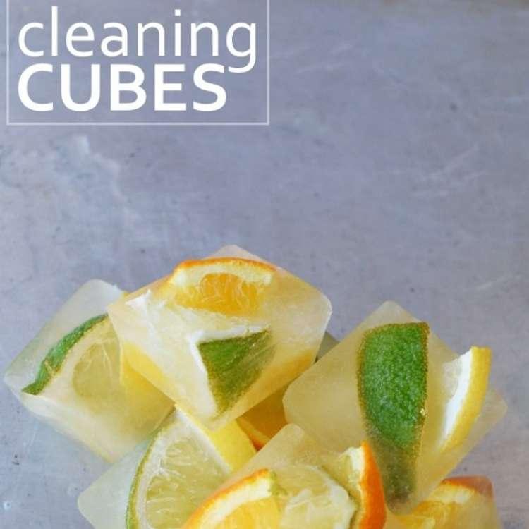 orange peel uses - frozen cubes of citrus garbage disposal cleaner