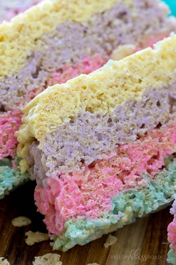 Pastel colored rice krispie treats made with Peeps marshmallows