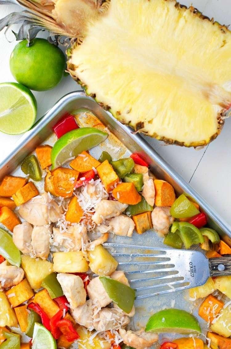 Sheet Pan Pineapple Chicken Dinner: