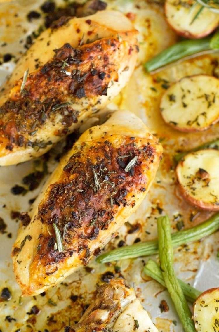 Sheet pan dinner: Rosemary chicken, roasted potatoes, green beans