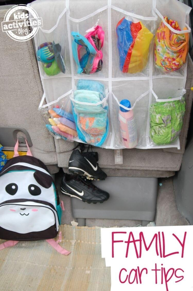 Car organization hack - plastic shoe organizers in trunk