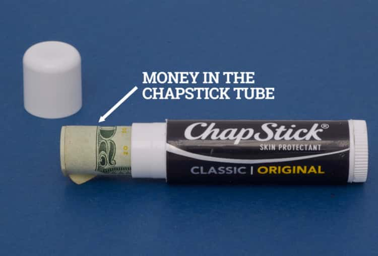 Travel hack cash in a Chapstick tube to easily hide it from thieves