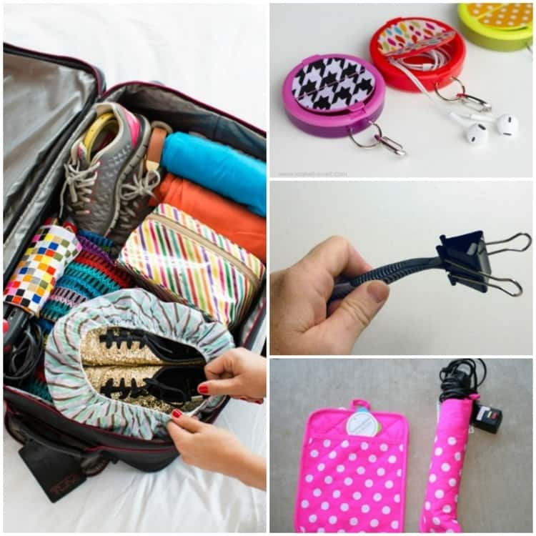 Travel hacks, collage luggage-shoes in shower cap, clip on end of razor, pot holder wrapped around curling iron