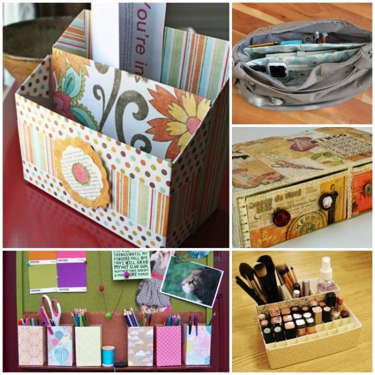 collage of cereal box organizers - letter supply organizer, makeup organizer, box of drawers, purse organizer, small office supply organizer using mini cereal boxes