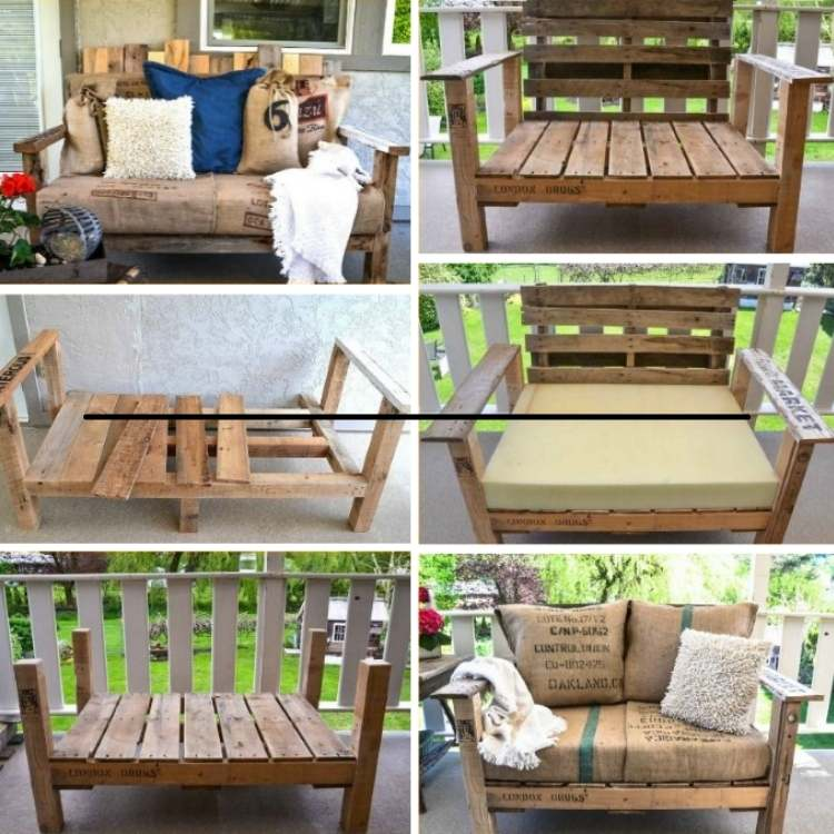 Pallets turned into chairs for the deck