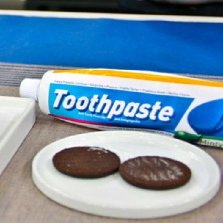 April fool's prank with toothpaste and oreo cookies on a plate