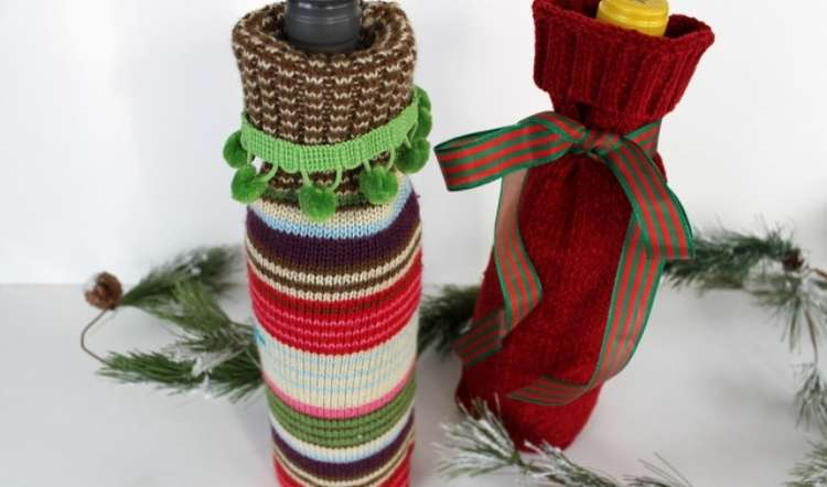 Wine bottles wrapped in adorable sweater bags to make perfect gift