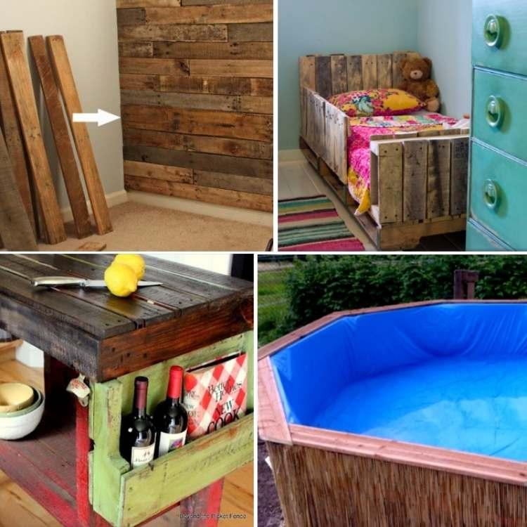 DIY pallet ideas collage - nursery wall, toddler bed, island, swim pool